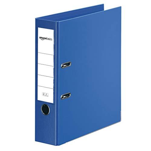 AmazonBasics - Archivador de palanca, cubierta de PP, lomo con bolsillo, Certificación FSC, lomo de 80 mm de ancho, paquete de 10, azul