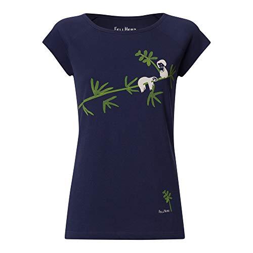 FellHerz Faultier dunkelblau - Damen T-Shirt Bio & Fair 100% Bio-Baumwolle nachhaltig öko alternativ Fee Mädchen Bambus Baum AST Organic (M)