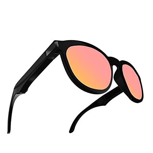 Sharplace Gafas de Sol de conducción ósea G4, Auriculares de conducción ósea Bluetooth Auriculares inalámbricos Manos Libres Auriculares Abiertos - Rojo