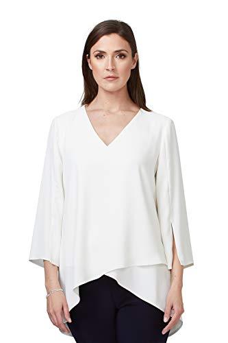 Joseph Ribkoff Damen Bluse mit V-Ausschnitt Größe 46 EU Weiß (weiß)
