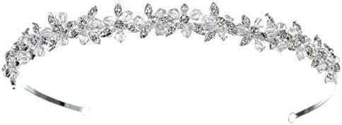 SAMKY Bridal Wedding Rhinestone Crystal Beads Flower Prom Headband Tiara T848 product image