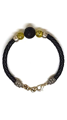 D&D Armband aus echt Leder mit echten Olivin Steinen und Lava Steinen von Lanzarote (Handarbeit)