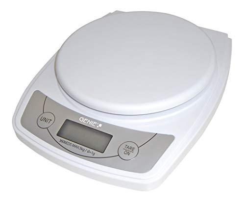 Genie 3606 EDS Digitale Briefwaage (von 1 g bis 5000 g, aus robustem Kunststoff, LCD Anzeige) weiß