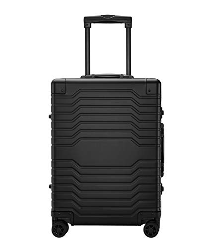 Aluminum Luggage Hard Shell Carry On Suitcase with Spinner Wheels & TSA Locks - Black 25 inch