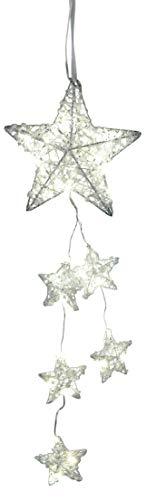 dekojohnson LED Fensterdeko Weihnachten Metall Weihnachts-Stern-Girlande mit weissem geeistem Acryl 40-LED Lampen Fensterschmuck beleuchtet (20x50cm)