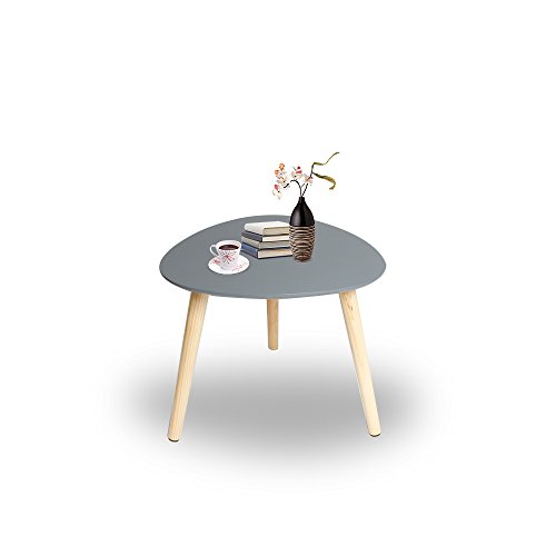 Happy Home Products Table Basse d/écoration Moderne Table de c/ôt/é avec Pattes en Bois pour Salon Balcon Bureau blanc-L55 x W55 x H45 cm