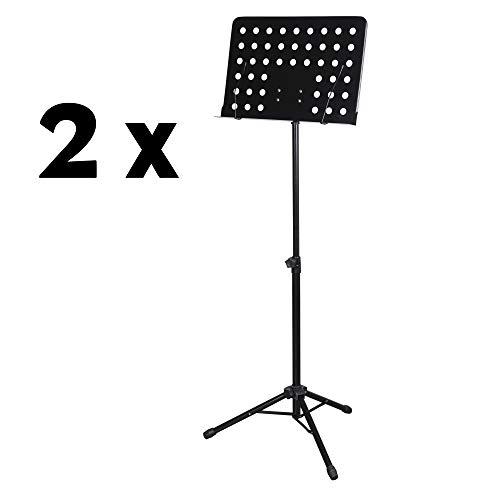 CASCHA Orchesterpult Notenständer stabil klappbar I 2x Notenpult Metall I Notenständer schwarz Lochblech mit Notenklemmen I Noten Pult I Lochpult I höhenverstellbarer Ständer von 64 cm bis 115 cm