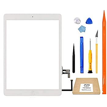JPUNG for iPad Air 1st Generation Screen Replacement Touchscreen Digitizer,Only for A1474 A1475 A1476 Air 1st gen with Home Button Full Repair Kit