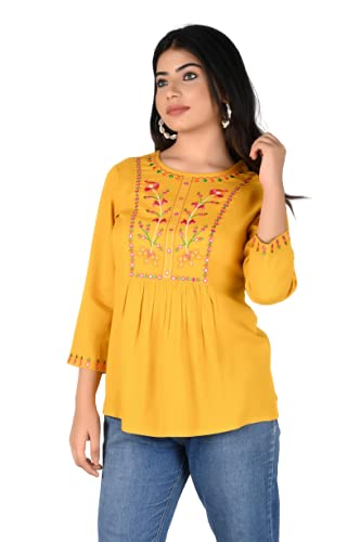 Clear Thoughts Women's Rayon Embroidered Round Neck Top