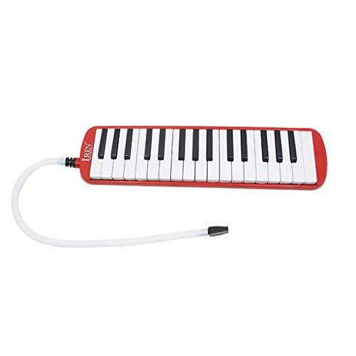 HomeDecTime Melodica für Kinder u. Erwachsene I Melodica 32 Tasten mit Tragetasche, Mundstück und Anblasschlauch - Rot
