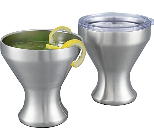 Jillmo Martini Glass, Insulated Stainless Steel Margarita Glass with Lid, Set of 2