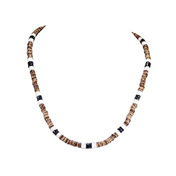 BlueRica Tiger Coconut Beads & Black Puka Shell Beads Necklace