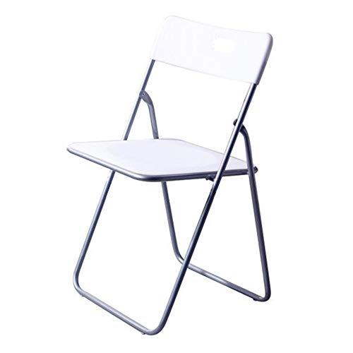 QIDI Chaise Pliante, Tabouret Pliant, Chaise d'ordinateur, Chaise de Bureau, Tube en Acier, Plastique, Simplicité Moderne Pliable - Blanc - À Deux Charges (Couleur : Blanc, Taille : Two Loaded)