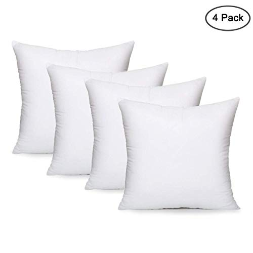 Yoodelife Square Sham Stuffer Hypo-Allergenic Poly Pillow Insert Form White, 18' L x 18' W (4 Pack)