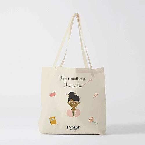 X468Y - Bolsa de escuela, para niños, bolsa de viaje, algodón, bolsa de Navidad, escuela, viaje de verano, para niños, superprofesor, bolso de mano
