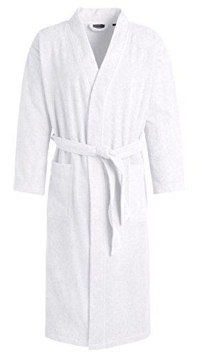 Egeria TOPAS Unisex Bademantel in Kimonoform für Damen und Herren, Größe XL, Farbe White