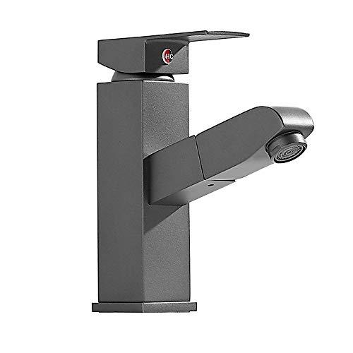 (agua) grifo; grifo; Bibcock simple pull-out grifo caliente y frío lavabo cuarto de baño bajo encimera lavabo hogar espacio profundo gris nórdico mezclado agua a prueba de salpicaduras