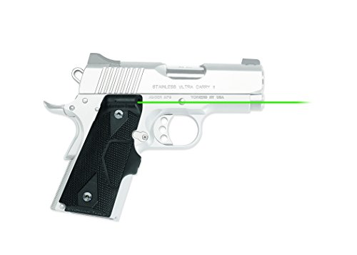 Crimson Trace LG-404G Lasergrips with Heavy Duty Construction and Instinctive Activation for 1911 Compact Pistols, Defensive Shooting and Competition , Black