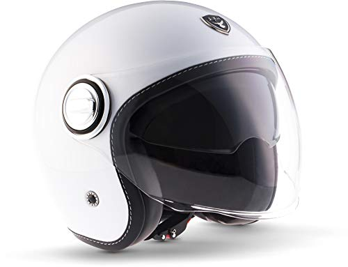 "Soxon® SP-888 ""Mono White"" · Jet-Helm · Motorrad-Helm Roller-Helm Scooter-Helm Moped Mofa-Helm Chopper Retro Vespa Vintage Pilot · ECE 22.05 Sonnenvisier Schnellverschluss SlimShell Tasche M (57-58cm)"