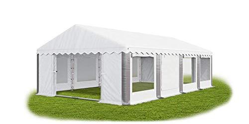 Tienda de campaña universal para fiestas, 3 x 8 m, con mosquitera, color blanco y gris, con marco de suelo, 240 g/m², lona de polietileno, impermeable, de alta calidad, para jardín