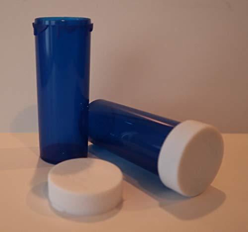 Plastic Prescription Cobalt Blue Vials/Bottles 25 Pack w/Non-CHILDPROOF Caps 6 Dram Size-New