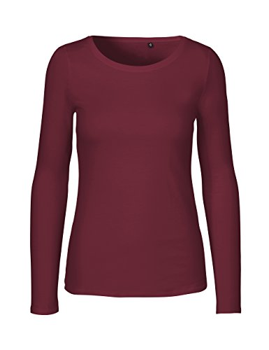 Green Cat- Damen Langarmshirt, 100% Bio-Baumwolle. Fairtrade, Oeko-Tex und Ecolabel Zertifiziert, Textilfarbe: Bordeaux, Gr. XL