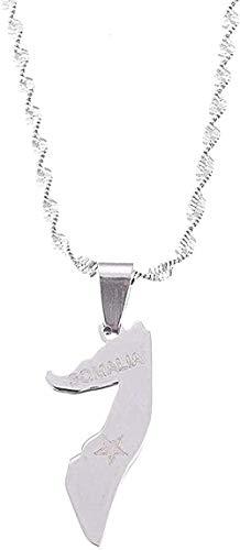 NC190 Collar de Acero Inoxidable Collar con Colgante de Mapa de Somalia Color Plateado Mapa de Somalia Collar de Cadena de joyería Longitud 50cm