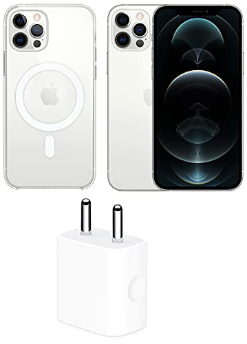 New Apple iPhone 12 Pro (256GB) – Silver with Apple Clear Case with Magsafe (for iPhone 12, 12 Pro) and Apple 20W USB-C Power Adapter