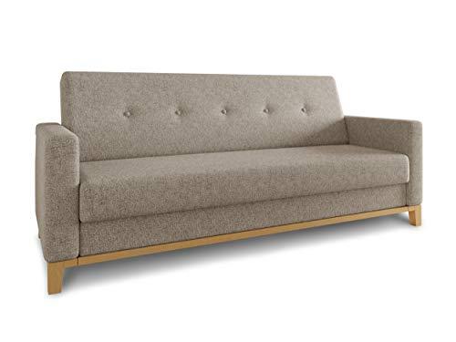 Sofa Wood mit Schlaffunktion - Schlafsofa mit Bettkasten, Bettsofa, Massivholz, Polstersofa mit Holzfüße, Couchgarnitur, Couch (Beige (Twist 02))