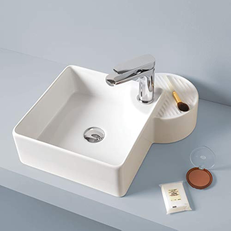 Quadrat Aufsatzwaschbecken aus weier Keramik mit Seifenablage Cartesio 44x44 cm Made in