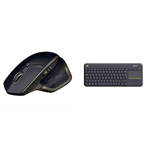 Logitech MXMasterAMZKabellose Bluetooth Maus (für Windows und Mac) schwarz & K400 Plus Touch Wireless Tastatur schwarz (QWERTZ, deutsches Tastaturlayout)
