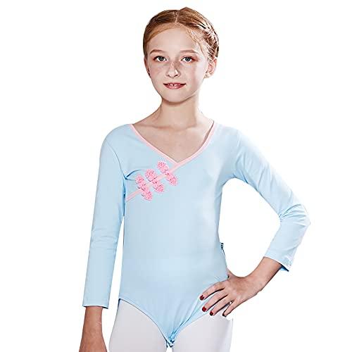 ZRFNFMA Vestido de Ballet de Hebilla de Disco de Manga Larga para niños Vestido de Ballet de la Practica Ropa de la practicación Girl Dance Dance Disfraz Light blue-110cm