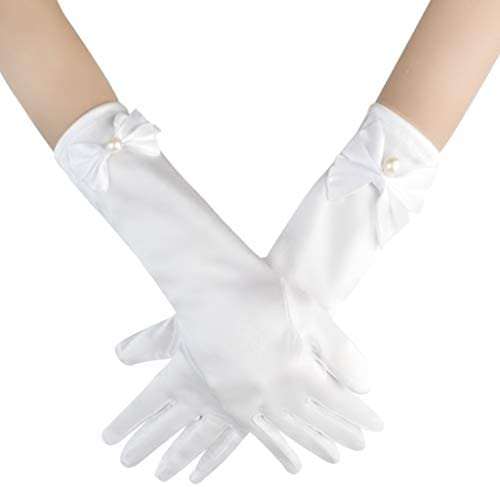Yolyoo Girls Princess Gloves Girl White Long Satin Princess Dress Up Diamonds Bows Gloves for product image
