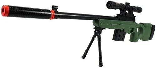Velocity Airsoft l96-gs Spring Airsoft Gun fps-250 w/Folding bi-pod, Mock Silencer, Aiming Scope (od Green)(Airsoft Gun)