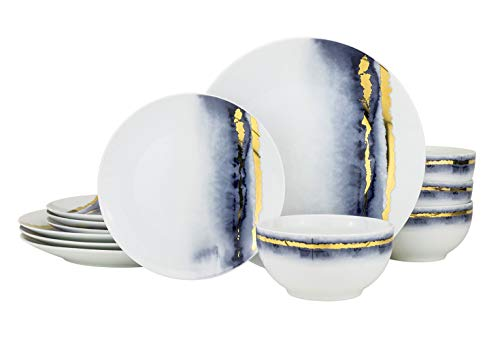 Euro Porcelain 12 piece Blue Marble Dining Set, Fine China Tableware...
