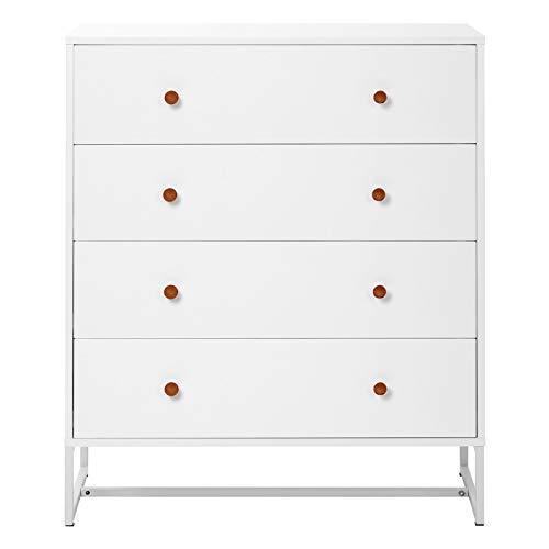 Mesita de noche de 4 capas con cajones simple armario blanco adecuado para dormitorio, pasillo, sala de estar, comedor, dimensiones generales: 80 x 40 x 95,5 cm.