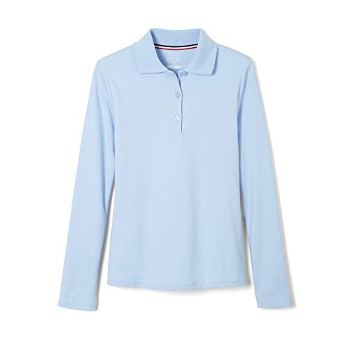 French Toast Big Girls' L/S Fitted Knit Polo With Picot Collar - blue, 16