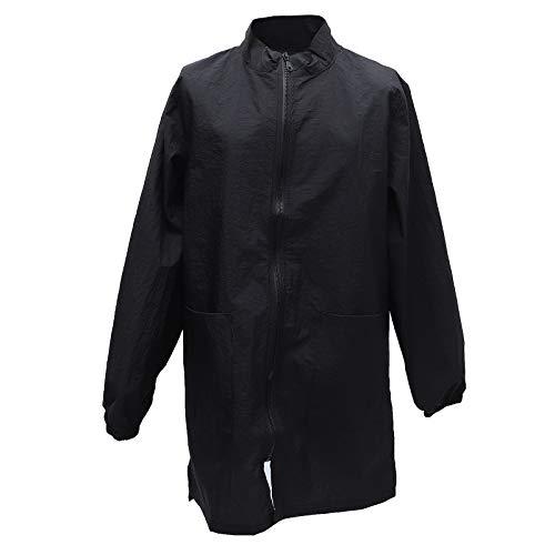 iplusmile Pet Groomer Arbeitskleidung, Haustier Schule und Krankenhaus spezielle Arbeitskleidung, wasserdichte und antistatische Schürze (langer Reißverschluss schwarz lange Ärmel XL)
