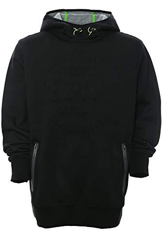 Kitaro Hoody Sweatshirt Shirt Kapuzenpullover Herren Langarm Plusgröße, Farbe:schwarz, Herrengrößen:8XL