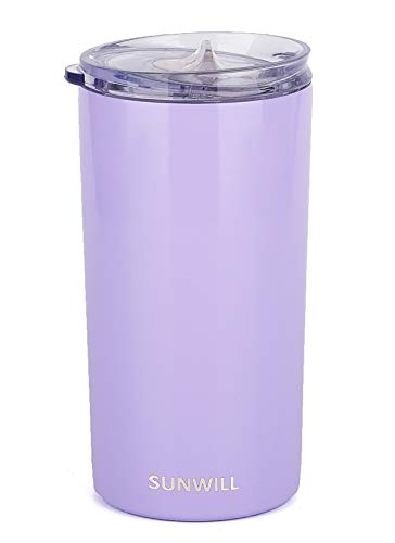 SUNWILL Coffee Mug with Lid, Vacuum Insulated Skinny Tumbler Lowball, Double Wall Stainless Steel Coffee Cup for Travel, Indoor and Outdoor 12oz, Lavender