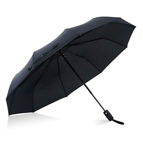 Procella Windproof Travel Umbrella, Compact and Small Closed - Large 46 In Open, Super Wind Rain Resistant - Lightweight & Portable - Automatic Open/Close - Best Travel Accessories for Men and Women