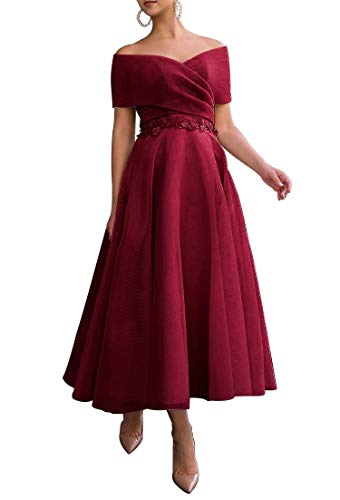 Xijun Off The Shoulder Tulle Prom Dresses for Women Formal Party Gowns Tea-Length 2021 Burgundy