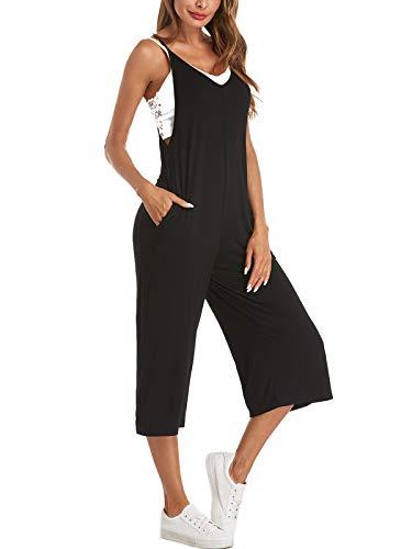 Style Dome Latzhose Damen Elegant Jumpsuit Mit Tasche Loose Overalls Einfarbige Weites Bein Playsuit Sommerhose Schwarz-A14825 M