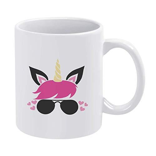 Unicornio rosa con vasos Taza de café Taza, Día de San Valentín Taza de cerámica Taza de bebida de té para el hogar y la oficina, cumpleaños, aniversario, Halloween, Navidad, Día de San Valentín Idea