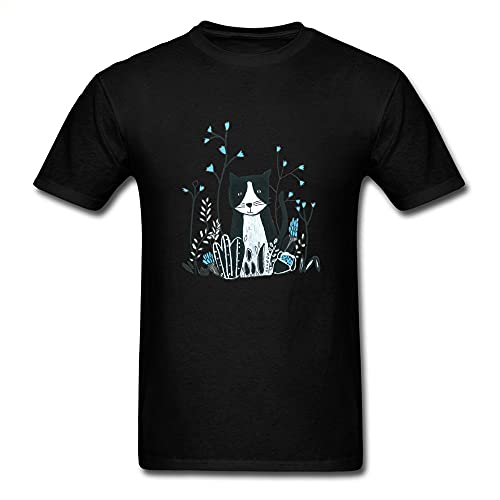 T Shirt Flower Cat Tshirt Men's Top T-Shirts Camisa Tops Tees Summer Funny Camisa Short Sleeve Pure Cotton Clothes Men