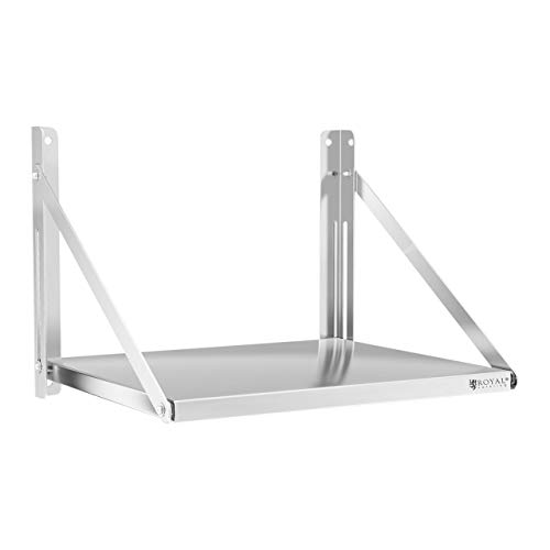 Royal Catering Estante De Pared Plegable Estantería para Cocina RC-BFWS6045 (60 x 45 cm, hasta 40 kg, Grosor de balda: 30 mm, Acero Inoxidable)