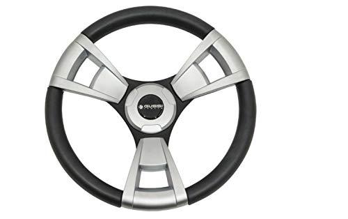 3G Gussi Brushed Aluminum & Black Steering Wheel for Club Car Precedent Golf Carts