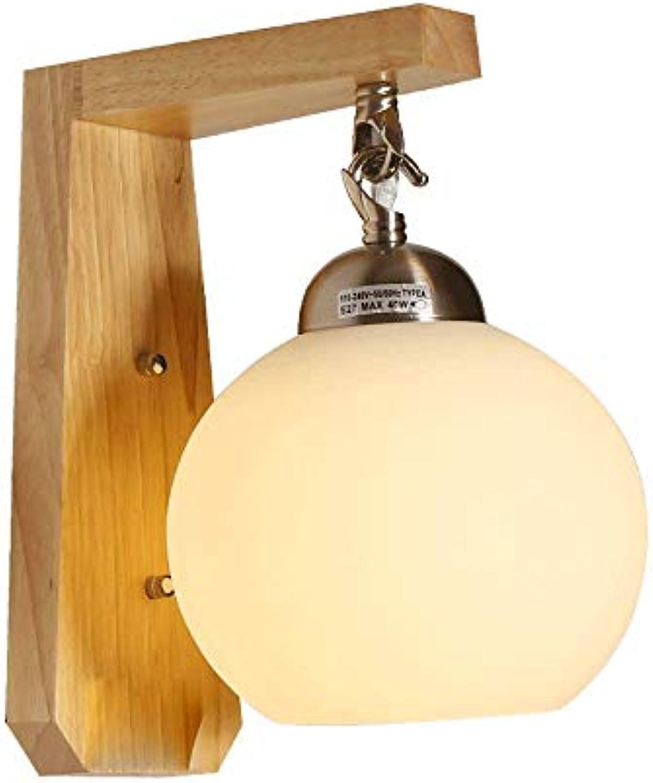 LLYU Einfache Moderne Nachttischlampe japanischen Massivholz Holz Wohnzimmer Korridor Lampe Schlafzimmer kreative Wandleuchte