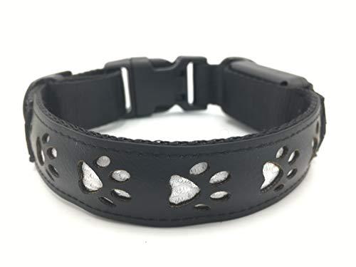 Collar de Led Multicolor para Perros Pequeños Medianos y Grandes Impermeable Ajustable y Recargable por USB (L, Negro)