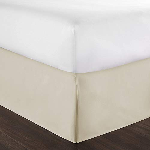 Hotel Luxury Bed Skirt/Dust Ruffle Queen Split Corner Bed Skirt 16 Inch Drop Solid Ivory 100% Cotton Hotel Quality